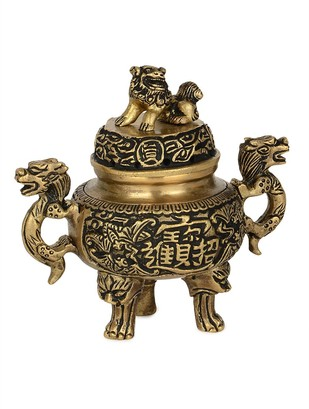 Brass Incense Burner 4.3in x 2.7in x 4.1in Artifact By IMLI STREET