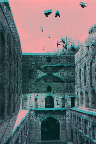 Baoli in Stereogram by Tanya Palta, Image Photography, Print on Paper, Green color