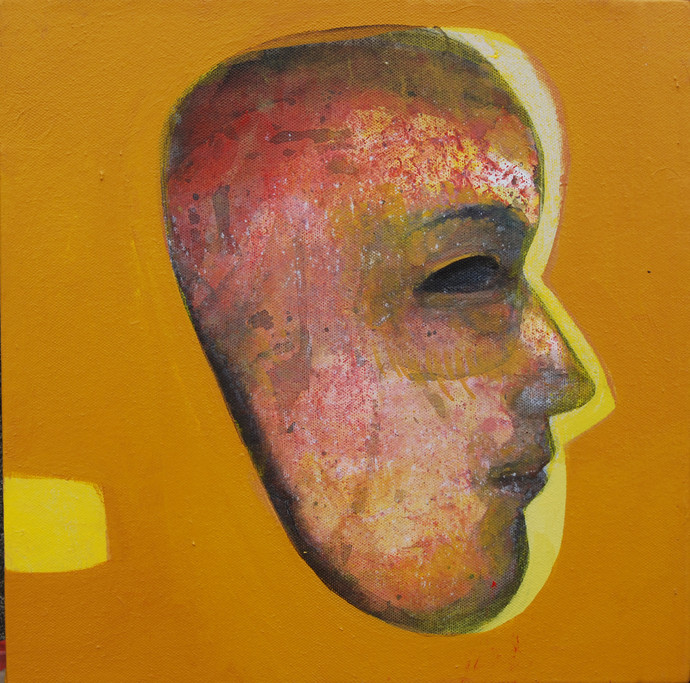 Untitled by Tapas Ghosal, Expressionism Painting, Acrylic on Canvas, Brown color