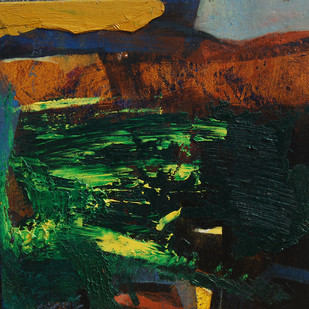 Untitled by Tapas Ghosal, Abstract Painting, Oil on Canvas, Green color