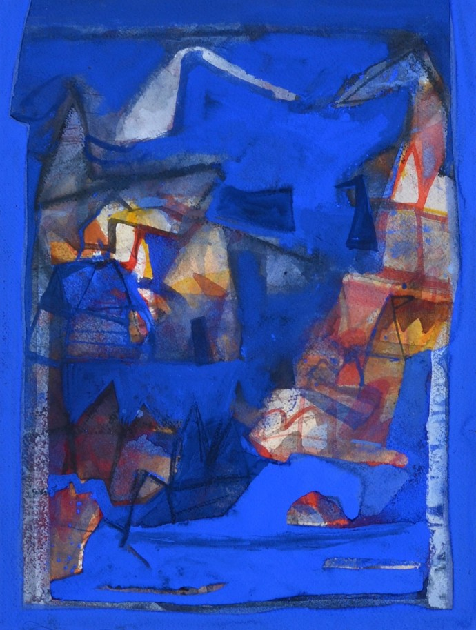 Untitled by Tapas Ghosal, Abstract Painting, Watercolor Wash on Paper, Blue color