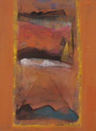 Untitled by Tapas Ghosal, Abstract Painting, Watercolor Wash on Paper, Brown color