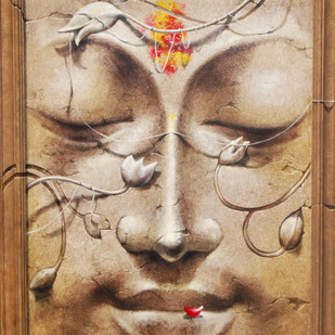 "Yug-Purush, Buddha, Enlightened man, Acrylic on Canvas by Indian Visual Artist ""In Stock"" by Sanatan Dinda, Decorative Painting, Acrylic on Canvas, Brown color"