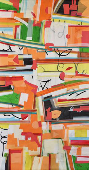 """Abstract Painting, Band of colors, Acrylic on canvas by Indian Artist """"In Stock"""" by Amit Kalla, Abstract Painting, Acrylic on Canvas, Brown color"""