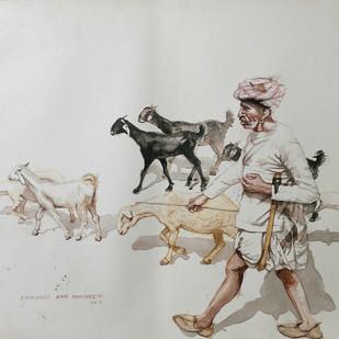 The Sheperd by Sreenivasa Ram Makineedi, Impressionism, Impressionism Painting, Watercolor on Board, Gray color