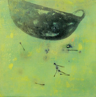 untitled 1139 by Arvind Patel, Minimalism Painting, Acrylic on Canvas, Green color