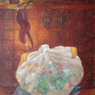 untitled 968 by Sharda Patel, Photorealism Painting, Oil on Canvas, Brown color