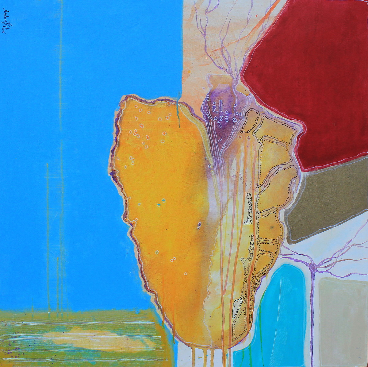 Yellow Heart by Andrew, Expressionism Painting, Acrylic on Canvas, Blue color