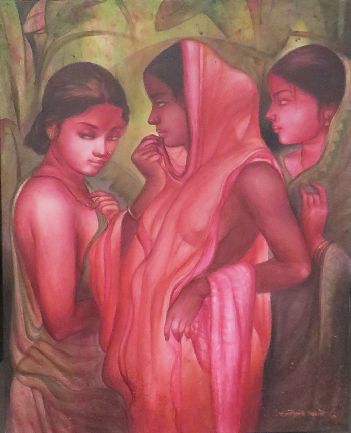 Gossip by Gouranga Beshai, Expressionism Painting, Acrylic on Canvas, Brown color