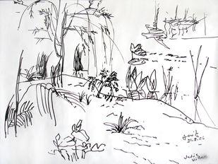 Anita Roy Chowdhury , Untitled by Anita Roy Chowdhury , Illustration Drawing, Ink on Paper, Gray color
