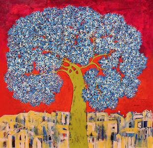 Tree of Life by Bhaskara Rao Botcha, Impressionism Painting, Acrylic on Canvas, Gray color