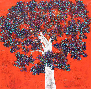 Tree of Life by Bhaskar Rao, Impressionism Painting, Acrylic on Canvas, Gray color