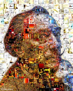 Dali par Saptarshi Das, Pop Art numérique, Impression numérique sur papier, couleur brun