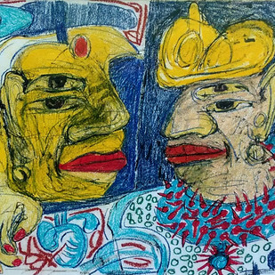 untitled 2 by Bhuwal Prasad, Expressionism Drawing, Mixed Media on Paper, Green color