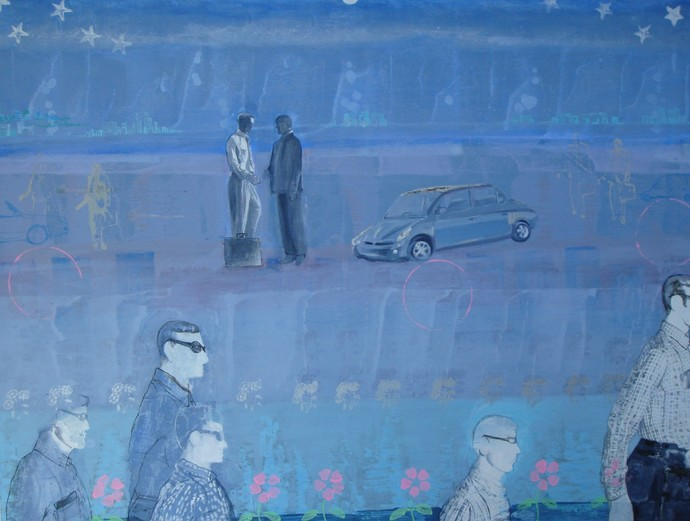Deals II by Nitasha Jaini, Expressionism Painting, Acrylic on Canvas, Blue color
