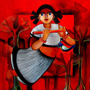 BRINDA by Sharmi Dey, Decorative Painting, Acrylic on Canvas, Red color