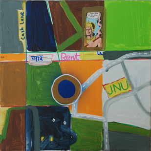 Rent II by Harpreet Singh, Pop Art Painting, Acrylic on Canvas, Green color