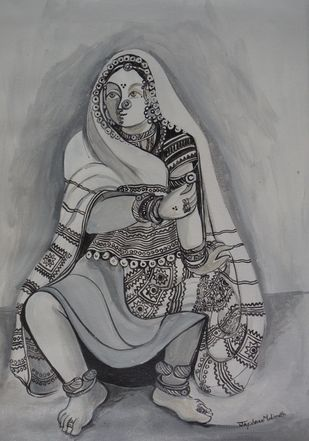 Sketch02 by Jayshree P Malimath, Illustration Drawing, Acrylic on Canvas, Gray color