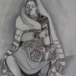 Sketch02 by Jayshree P Malimath, Illustration Drawing, Acrylic on Canvas, Gray color