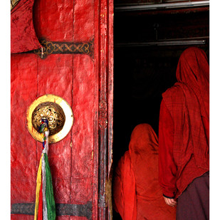 Women visiting Monestary - Ladakh by Ramona Singh, Image Photography, Digital Print on Archival Paper, Red color