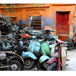 Scooter Junkyard by Ramona Singh, Image Photography, Digital Print on Archival Paper, Gray color