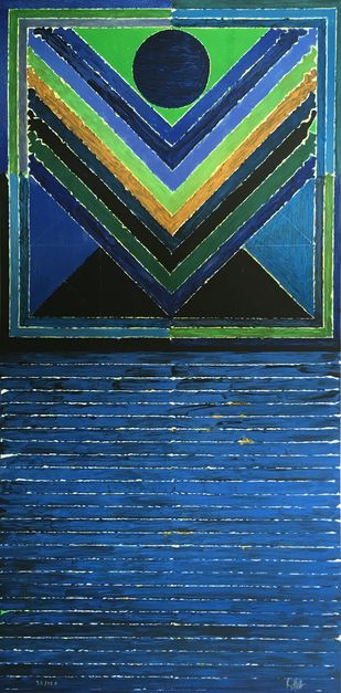 Arbre by S H Raza, Abstract Printmaking, Lithography on Paper, Blue color
