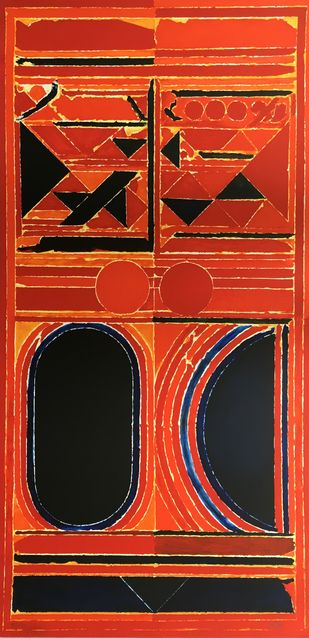 Dualite by S H Raza, Abstract Printmaking, Lithography on Paper, Red color