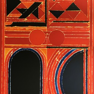 Dualite by S H Raza, Geometrical Printmaking, Lithography on Paper, Red color