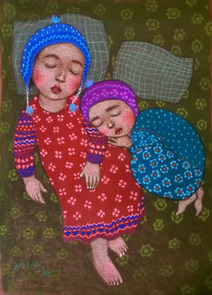 Lullaby 1 by Meena Laishram, Expressionism Painting, Dry Pastel on Paper, Blue color