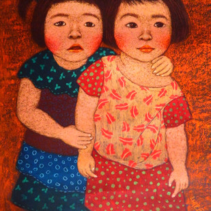 Me and My cousin Digital Print by Meena Laishram,Expressionism