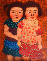 Me and My cousin by Meena Laishram, Expressionism Painting, Dry Pastel on Paper, Brown color