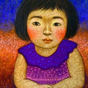 Innocent Look 2 by Meena Laishram, Expressionism Painting, Dry Pastel on Paper, Brown color
