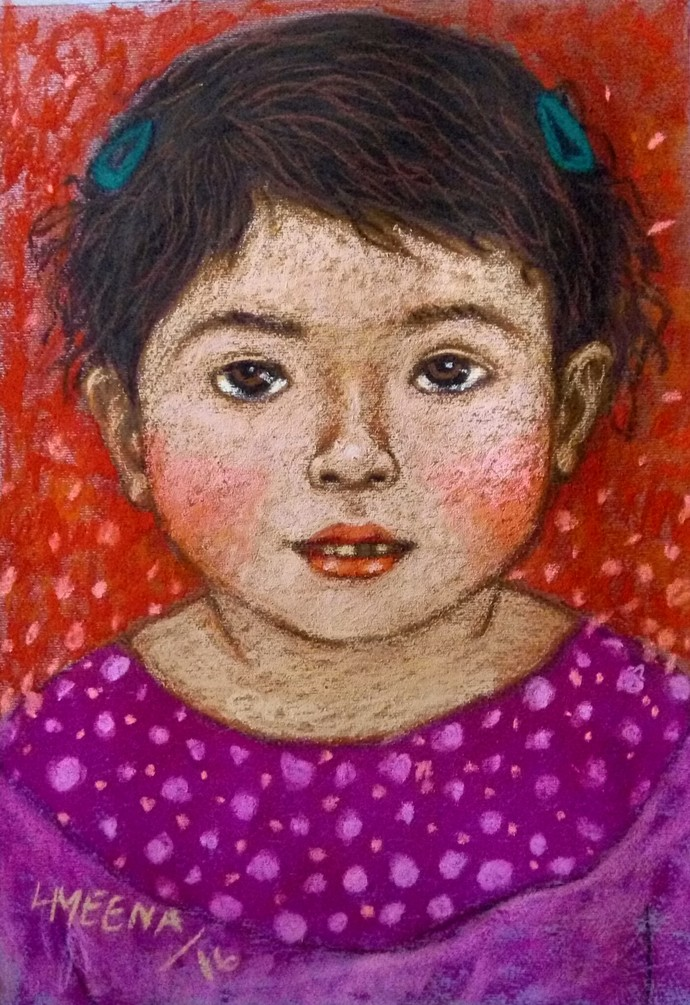 Innocent Look 3 by Meena Laishram, Expressionism Painting, Dry Pastel on Paper, Brown color