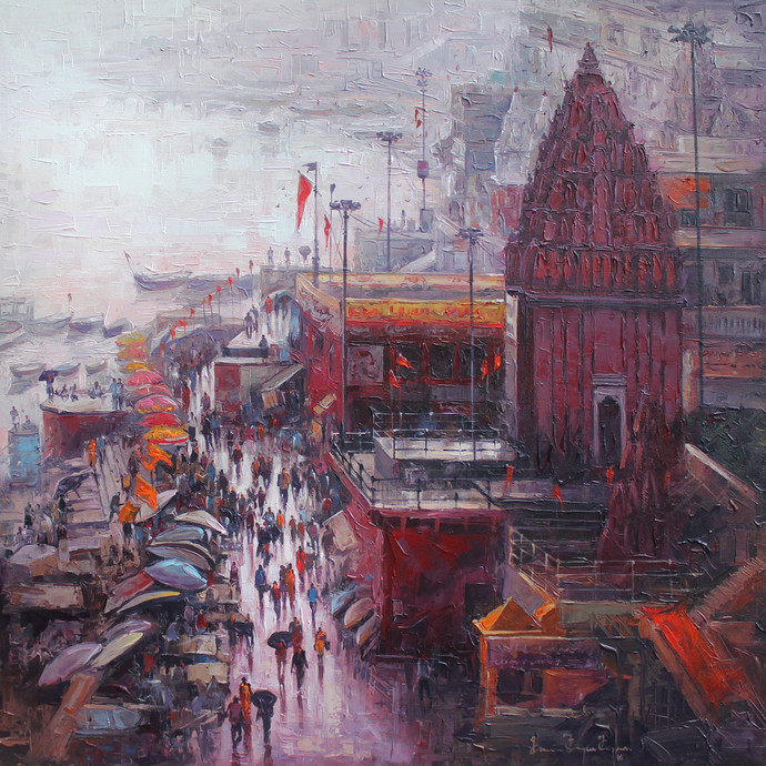 Varanasi After shower by Iruvan Karunakaran, Impressionism Painting, Acrylic on Canvas, Brown color