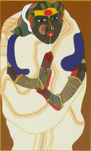 Telangana Woman - III by Thota Vaikuntam, Expressionism Printmaking, Serigraph on Paper, Beige color