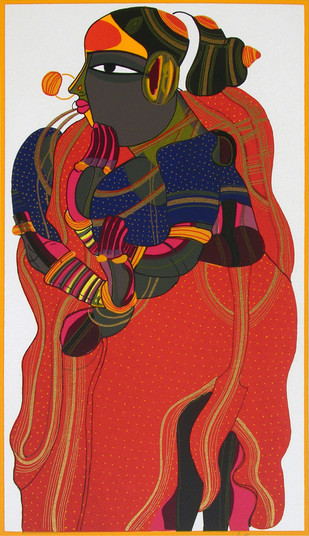 Telangana Woman - V by Thota Vaikuntam, Expressionism Printmaking, Serigraph on Paper, Brown color