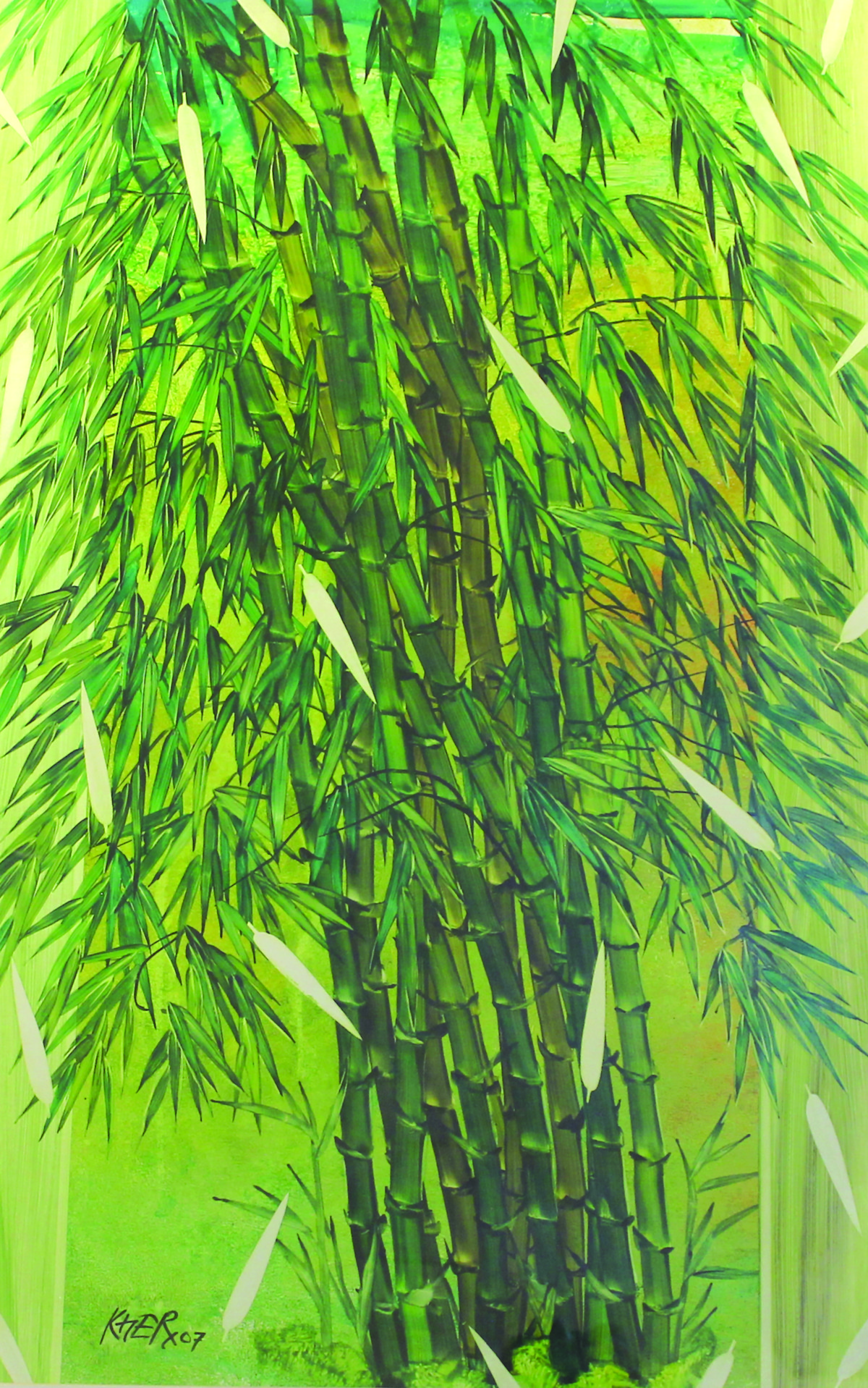 Untitled by Ramesh Kher, Decorative Painting, Acrylic on Paper, Green color