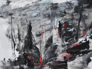 untitled 1 by Vikash Kalra, Abstract Painting, Acrylic & Ink on Paper, Gray color