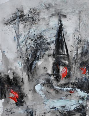 untitled 2 by Vikash Kalra, Abstract Painting, Acrylic & Ink on Paper, Gray color