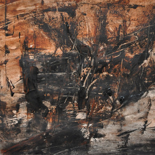 untitled 3 by Vikash Kalra, Abstract Painting, Acrylic & Ink on Canvas, Brown color