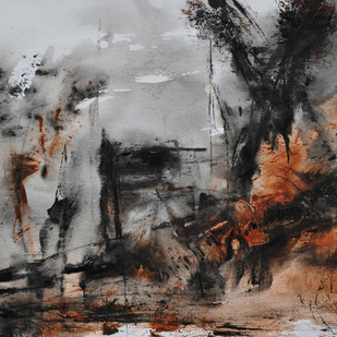 Untitled 4 by Vikash Kalra, Abstract Painting, Acrylic & Ink on Canvas, Gray color