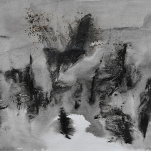 Untitled 5 by Vikash Kalra, Abstract Painting, Acrylic & Ink on Canvas, Gray color