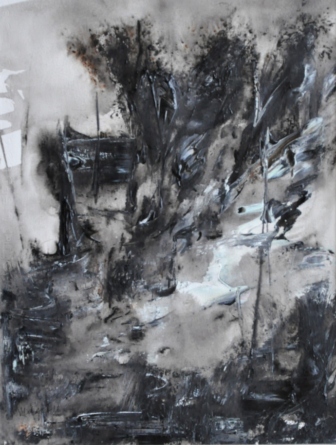 Untitled 7 by Vikash Kalra, Abstract Painting, Acrylic & Ink on Paper, Gray color