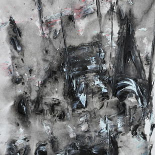 Untitled 9 by Vikash Kalra, Abstract Painting, Acrylic & Ink on Paper, Gray color