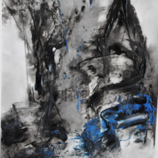 untitled 10 by Vikash Kalra, Abstract Painting, Acrylic & Ink on Paper, Gray color