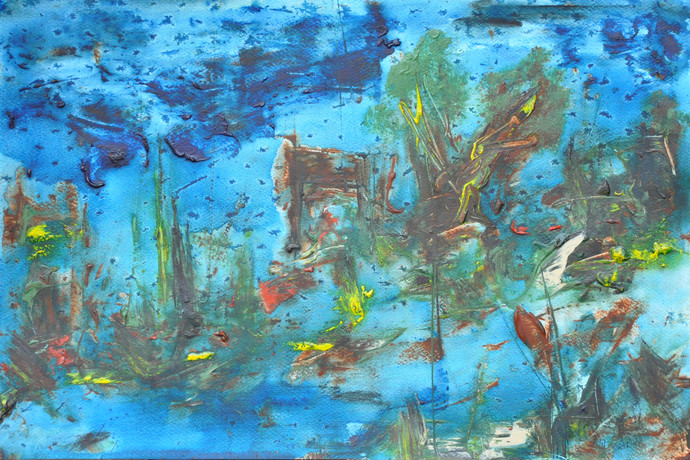 Untitled 13 by Vikash Kalra, Abstract Painting, Acrylic & Ink on Paper, Green color
