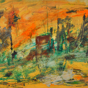 untitled 15 by Vikash Kalra, Abstract Painting, Acrylic & Ink on Canvas, Brown color