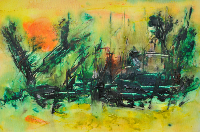 untitled 18 by Vikash Kalra, Abstract Painting, Acrylic & Ink on Paper, Green color