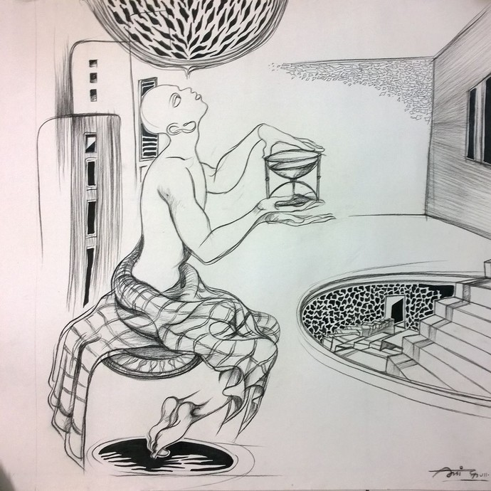 Drawing by Amit Dutt, Illustration Drawing, Mixed Media on Paper, Gray color