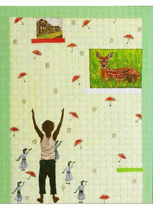 green ribbon Digital Print by riddhima sharraf,Fantasy